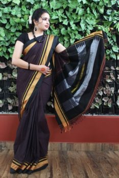 Ilkal Dark Anchor With Black Border Cotton-Silk Saree A1