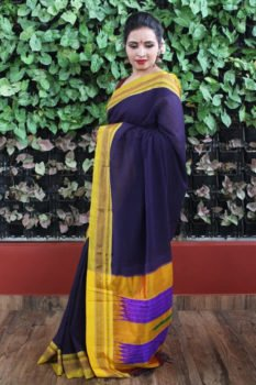 Ilkal Dark Blue With Light Green Border Cotton-Silk Saree 1