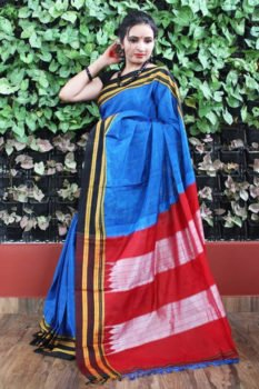 Ilkal Dark Blue with Black gayathri Border Cotton Saree (Maroon Pallu) 1
