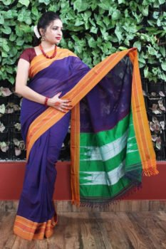 Ilkal Dark Purple with mustard Border Cotton Saree 1