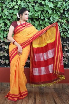 Ilkal Gloden Yellow with Red gayathri Border Cotton Saree 1