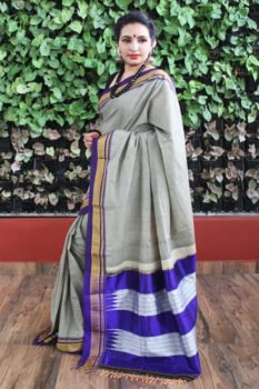 Ilkal Gray with Blue Border Cotton Saree 1