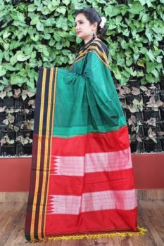Ilkal Green With Black Gayathri Border Cotton-Silk Saree A1