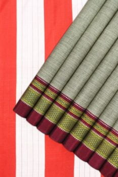 Ilkal Grey-Red Cotton-Silk Saree Online 1