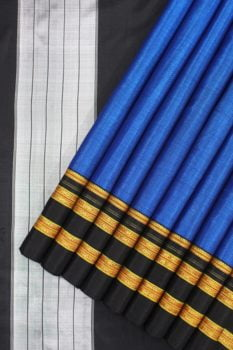 Ilkal Handloom Blue Cotton-Silk Saree Online 1
