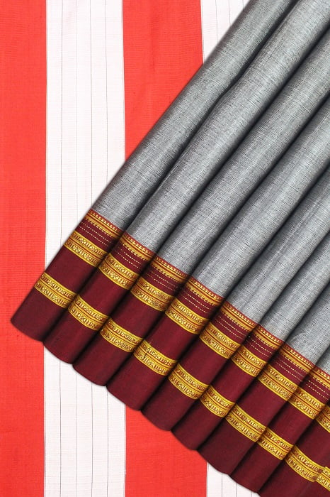 Ilkal Light Gray Cotton-Silk Saree Online 1