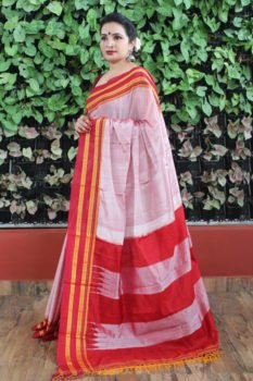 Ilkal Light Pink with Maroon gayathri Border Cotton-Silk Saree 1
