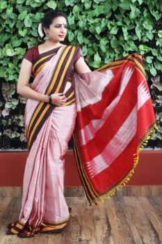 Ilkal Light Pink with dark maroon Border Cotton-Silk Saree 1
