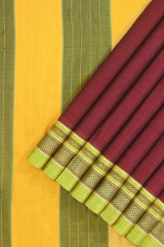 Ilkal Maroon Cotton-Silk Saree Online 1