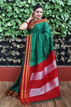 Ilkal Multicolour with Maroon gayathri Border Cotton Saree 1