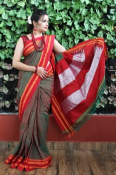 Ilkal Multicolour with Maroon gayathri Border Cotton Saree A