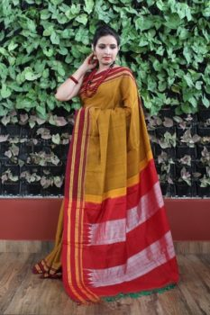 Ilkal Mustard with Dark Maroon gayathri Border Cotton-Silk Saree 1