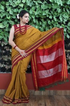 Ilkal Mustard with Dark Maroon gayathri Border Cotton-Silk Saree 2