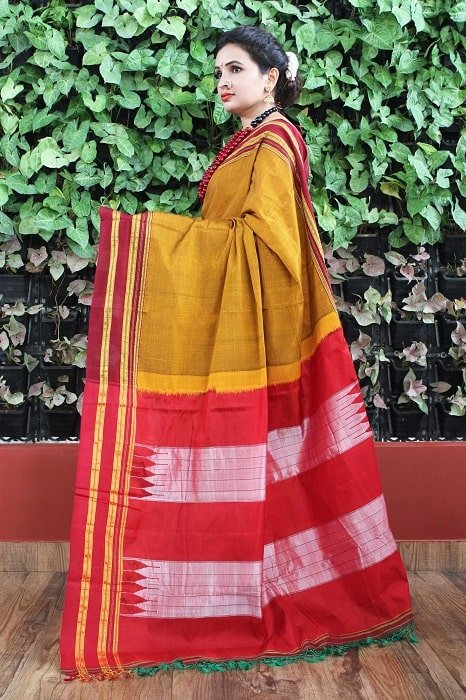 Ilkal Mustard with Dark Maroon gayathri Border Cotton-Silk Saree 3