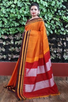 Ilkal Orange with Maroon gayathri Border Cotton Saree 1