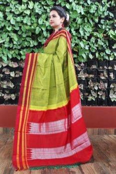 Ilkal Parrot Green with Maroon gayathri Border Cotton Saree 1