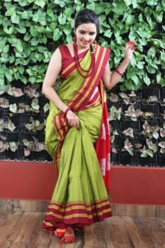 Ilkal Parrot Green with Maroon gayathri Border Cotton Saree 2