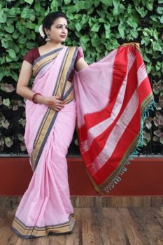 Ilkal Pink with Dark Gray Border Cotton-Silk Saree 1