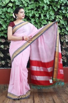 Ilkal Pink with Dark Gray Border Cotton-Silk Saree 2