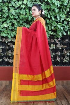 Ilkal Raspberry with Bronze Border Cotton Saree 1