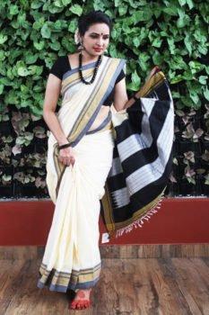 Ilkal Roman shade cream with dark gray Border Cotton-Silk Saree 1