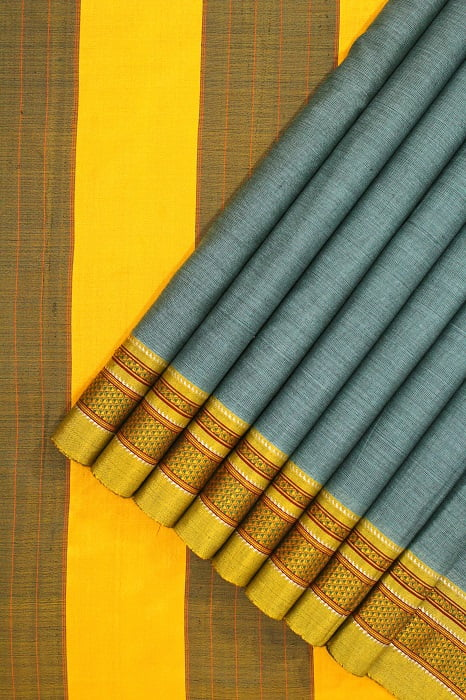 Ilkal Sky Blue Cotton-Silk Saree Online 1