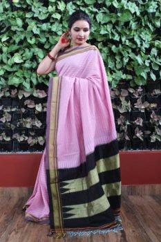 Ilkal Stripes Pink with Maroon Border Cotton Saree 1
