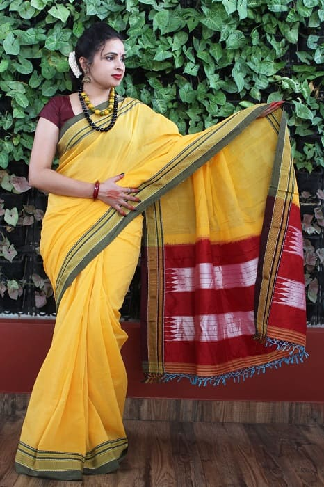 Ilkal Yellow with Fren Shade Border Cotton Saree 1