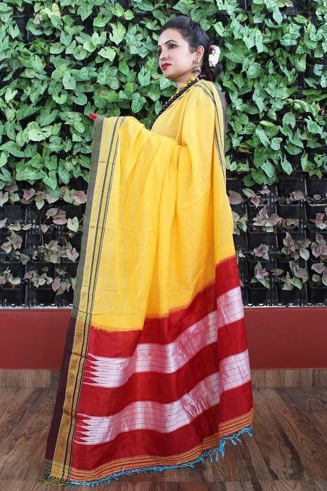 Ilkal Yellow with Fren Shade Border Cotton Saree 2