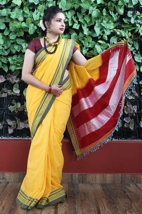 Ilkal Yellow with Fren Shade Border Cotton Saree 3