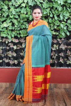 Ilkal ocean blue with Orange Border Cotton Saree 1