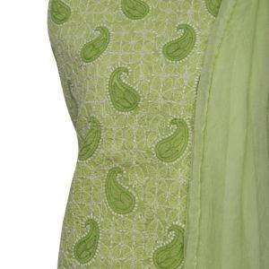 Lucknow Chikankari Green Cotton Dress Material Set 1