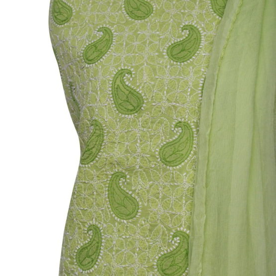 Lucknow Chikankari Green Cotton Dress Material Set 1