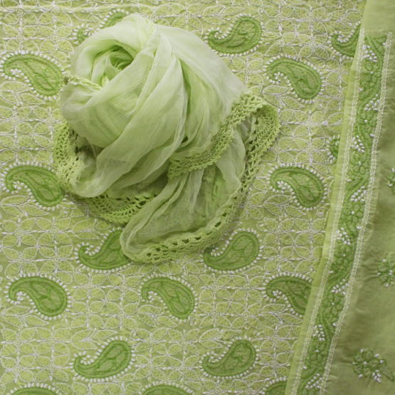 Lucknow Chikankari Green Cotton Dress Material Set 2