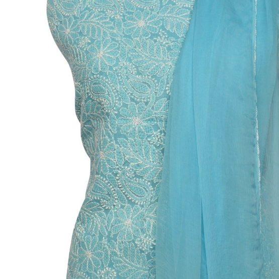 Lucknow Chikankari Hand Embroidered Baby Blue Cotton Dress Material Set 1