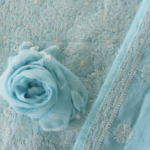 Lucknow Chikankari Hand Embroidered Baby Blue Cotton Dress Material Set 2