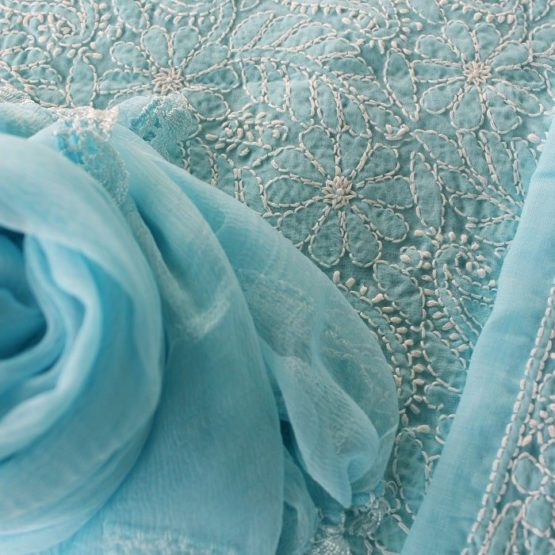 Lucknow Chikankari Hand Embroidered Baby Blue Cotton Dress Material Set 3