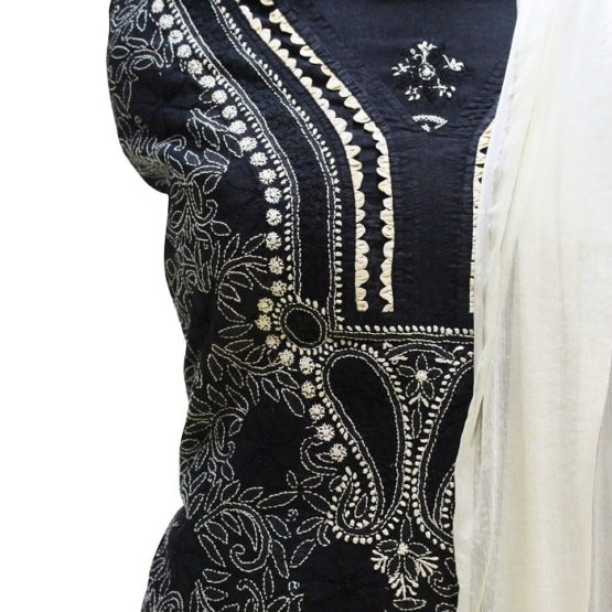 Lucknow Chikankari Hand Embroidered Black Cotton Dress Material Set A1