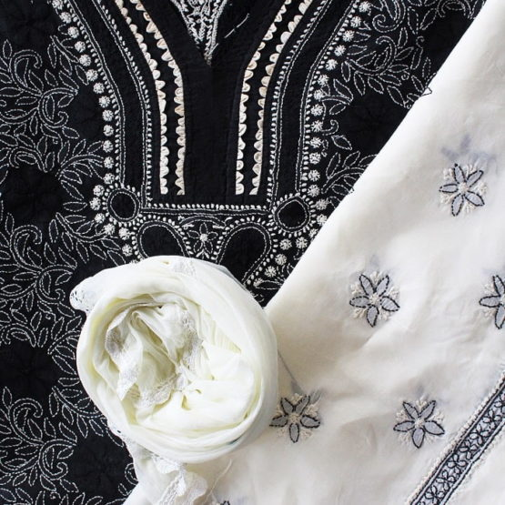 Lucknow Chikankari Hand Embroidered Black Cotton Dress Material Set A2