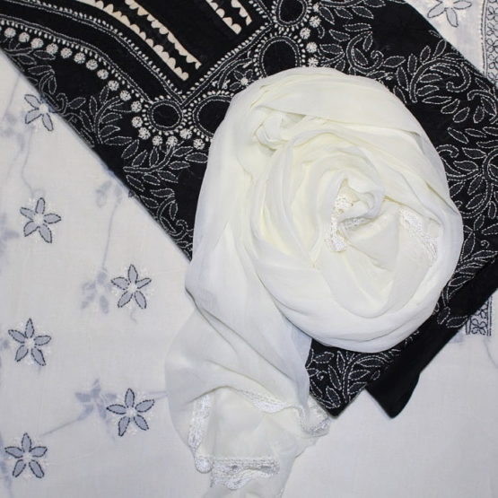 Lucknow Chikankari Hand Embroidered Black Cotton Dress Material Set A3