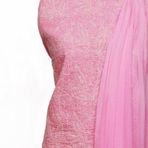 Lucknow Chikankari Hand Embroidered Blush Pink Cotton Dress Material Set 1