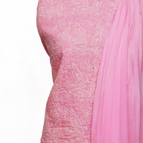 Lucknow Chikankari Hand Embroidered Blush Pink Cotton Dress Material Set 1
