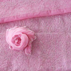 Lucknow Chikankari Hand Embroidered Blush Pink Cotton Dress Material Set 2