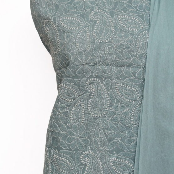 Lucknow Chikankari Hand Embroidered Brittany Blue Cotton Dress Material Set 1