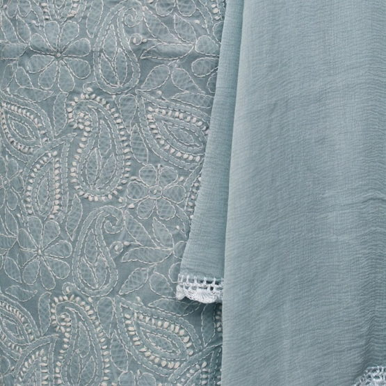 Lucknow Chikankari Hand Embroidered Brittany Blue Cotton Dress Material Set 3