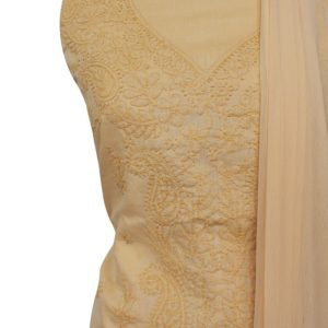 Lucknow Chikankari Hand Embroidered Cream Color Cotton Dress Material Set 1