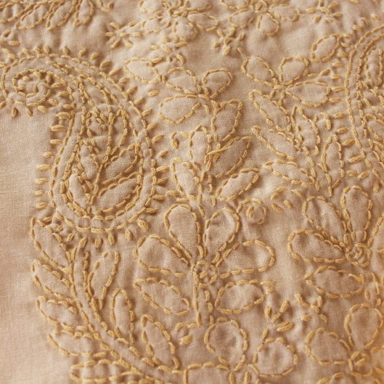 Lucknow Chikankari Hand Embroidered Cream Color Cotton Dress Material Set 3