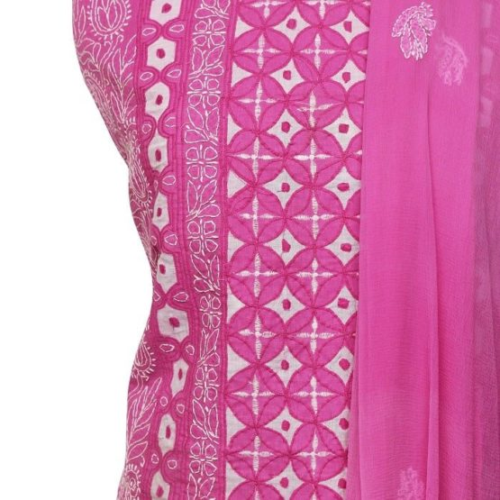 Lucknow Chikankari Hand Embroidered Creamy Pink Cotton Dress Material Set 1