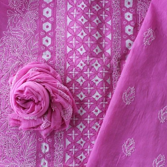 Lucknow Chikankari Hand Embroidered Creamy Pink Cotton Dress Material Set 2