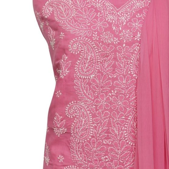 Lucknow Chikankari Hand Embroidered Flamingo Cotton Dress Material Set 1
